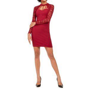 GUESS Lace-Sleeve Cutout Bodycon Dress Sz. 14